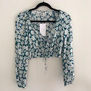 {NWT} Zara Daisy Long-Sleeve Crop Top Blouse